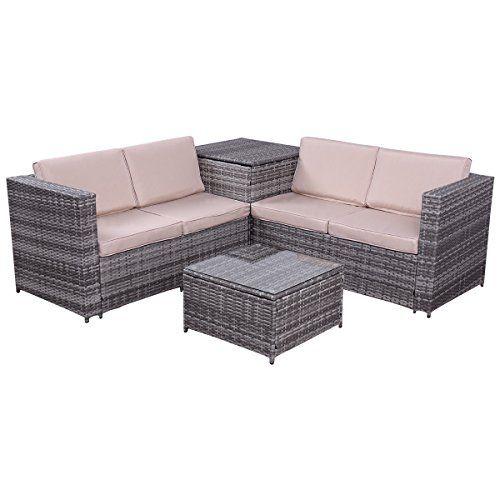 tangkula 4 pcs wicker sofa set with storage box furniture rh pinterest co uk