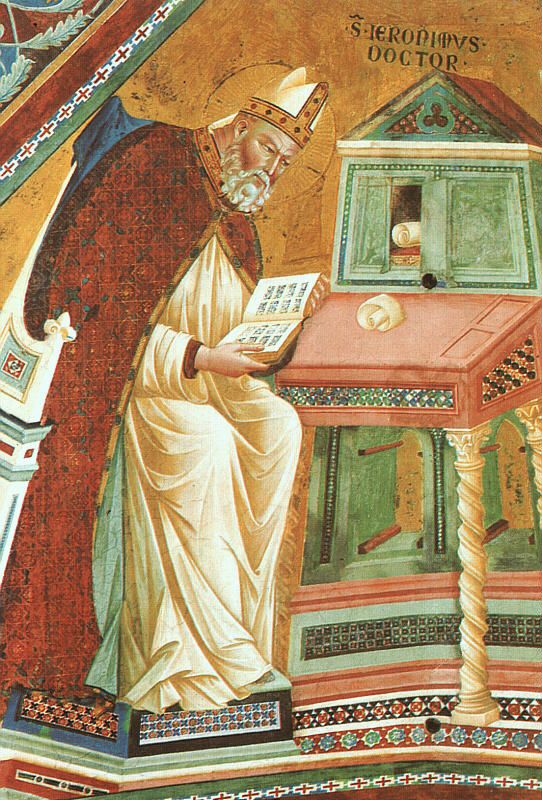 September 30: St. Jerome, as depicted by Giotto. St Jerome is considered the patron of translators and interpreters