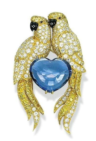 queenbee1924:  A DIAMOND, COLOURED DIAMOND AND SAPPHIRE …   ♥ yellow♥blue