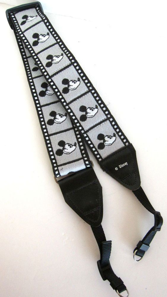 DISNEY MICKEY MOUSE vintage CAMERA STRAP Black/White w/Film Holders never used #Disney