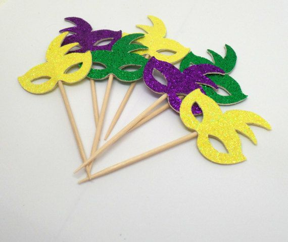 Purple Green and Yellow Mardi Gras Mask Cupcake Toppers Set