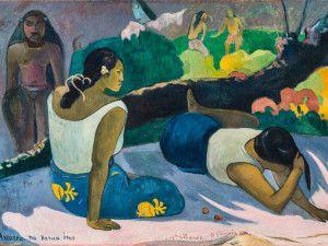 """Paul Gauguin. Donne tahitiane sdraiate (Arearea no vara ino, """"Il divertimento dello spirito maligno""""), 1894. Olio su tela, cm 60x98. ©Ny Carlsberg Glyptotek, Copenhagen /Photo: Ole Haupt."""