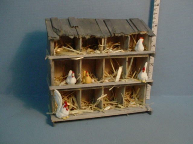 Cute dollhouse miniature chicken coop