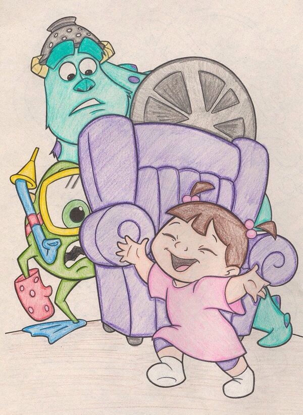 Monsters Inc.: Mike, James and Boo Colour Art.