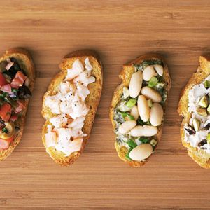 Pick your favorite quick-and-easy bruschetta topping from the four delicious options provided or serve them all at your next party. The make-ahead directions will help with advance planning.