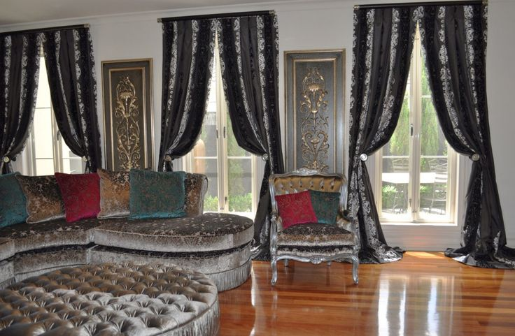 Contemporary Modern Black and Silver Drapes Hung on Rod