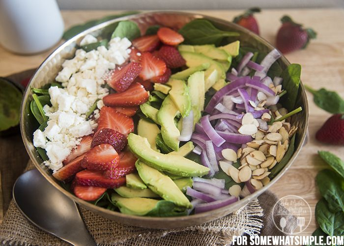Strawberry Avocado Salad Recipe via @somewhatsimple