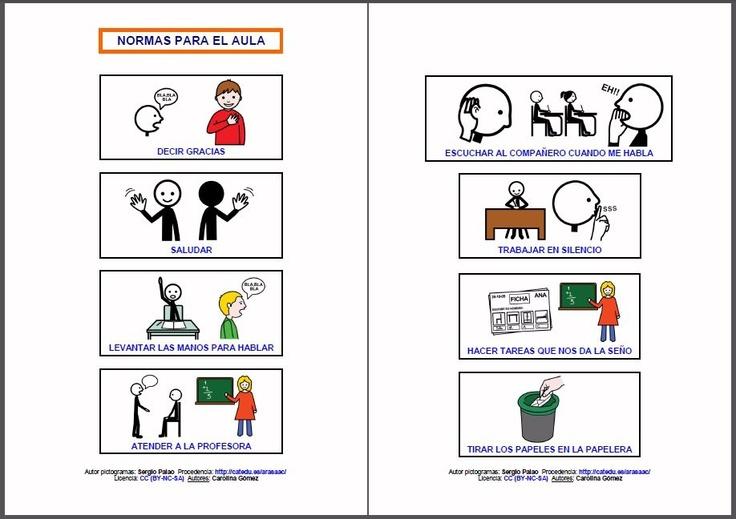 MATERIALES - Normas para la clase.    Conjunto de tarjetas para trabajar las normas básicas de comportamiento en el aula.    http://arasaac.org/materiales.php?id_material=907
