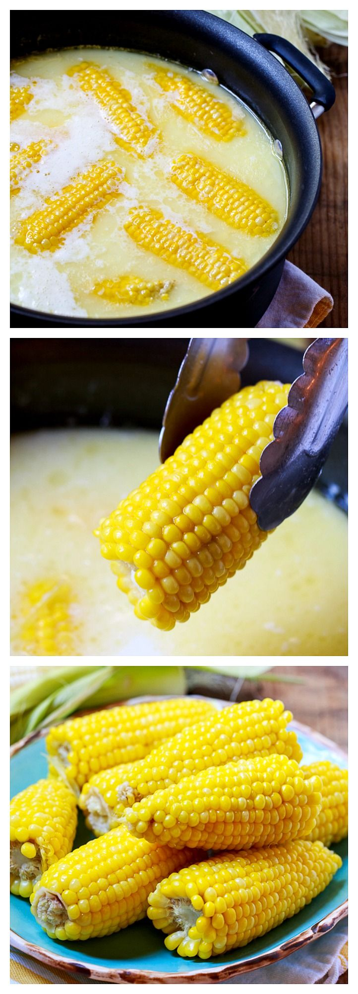 This is the most delicious way to cook corn on the cob - in boiling water with a cup of milk and a stick of butter. So good!