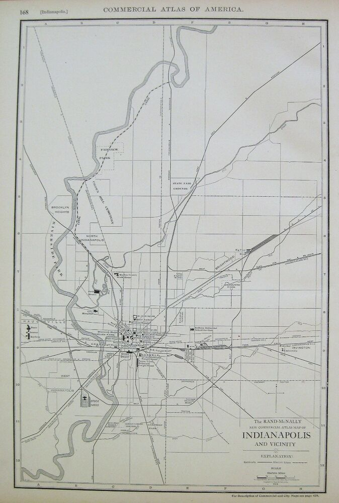 1914 Antique Indianapolis Map Vintage City Map Of Indianapolis - Indianapolis-on-us-map