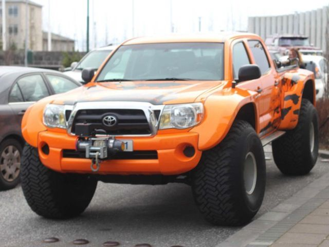 bright orange modified toyota tacoma featured in topgear usa tacoma pinterest trucks. Black Bedroom Furniture Sets. Home Design Ideas