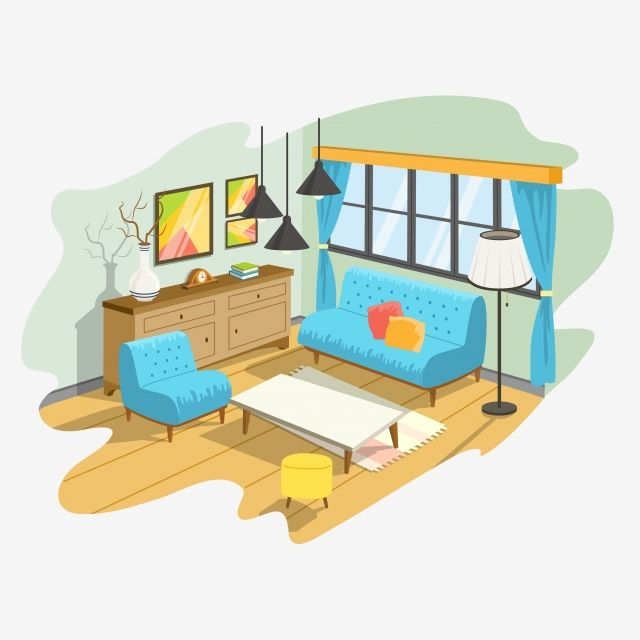 Illustration Of A Cartoon Interior Cozy Living Room Coffee House