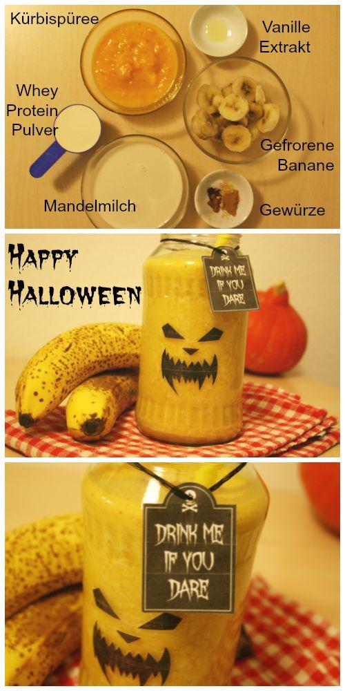 Rezept für leckeren Halloween Smoothie mit Kürbis und Protein Pulver // Recipe for deicios Halloween Smoothie with pumpkin and protein powder.