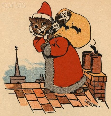 Santa Claus on the rooftop, United Kingdom, date unknown, by Louis Wain.