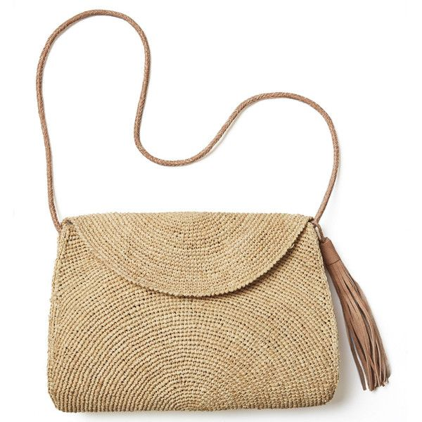 Leah Raffia Crossbody design by Mar Y Sol (£100) ❤ liked on Polyvore featuring bags, handbags, shoulder bags, crossbody purses, white cross body purse, crochet handbags, shoulder handbags and shoulder strap handbags