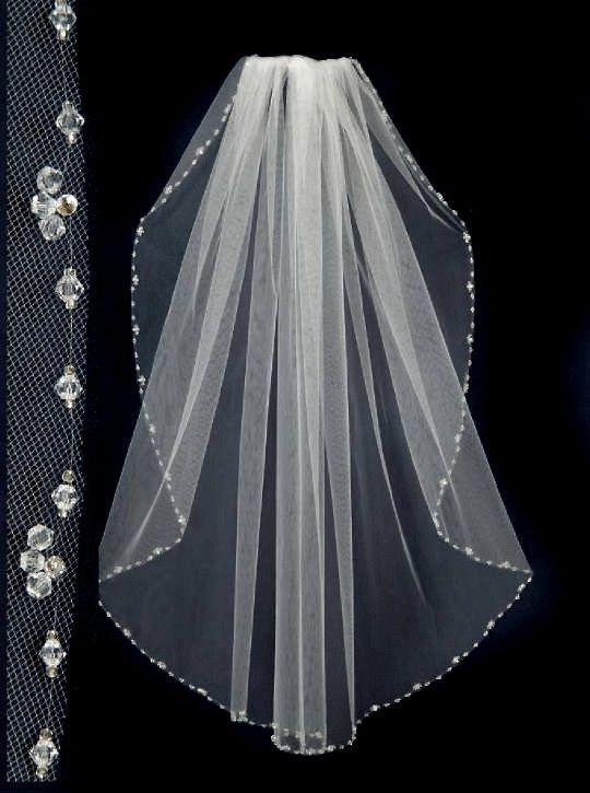 Wedding Veil With Crystal Bead And Rhinestones Edge Candra Lynne