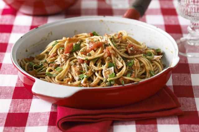 This Mediterranean tuna spaghetti recipe features a quick tomato sauce that bursts with flavor. Tuna really makes a healthy, and meaty tasting sauce recipe that can be used on spaghetti, linguine, or fettuccine.