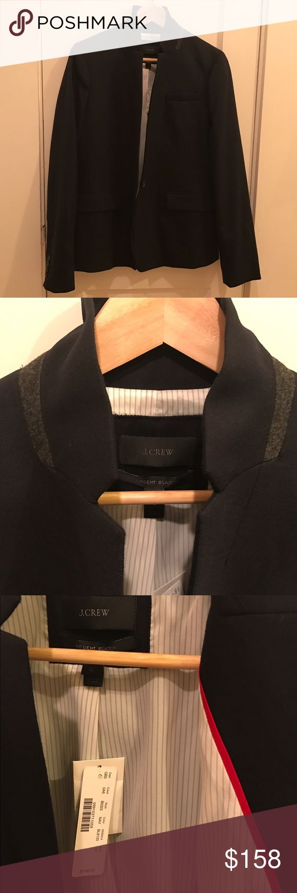 NWT JCREW Navy Regent Blazer Beautiful NWT J.Crew Regent Blazer, on original store hanger since purchase. Size 12. Wool and linen blend. Not the extremely heavy version of the Regent, mid weight. All season appropriate. Gray wool liner on the popped collar. Striped lining and red ribbon on the inside. J. Crew Jackets & Coats Blazers