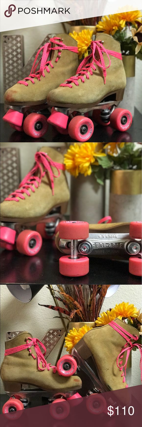 SureGrip Roller Skates Sure Grip Roller Skates -original frame -original wheels -size 7.5 (fits 7.5-8 women's) -new pink laces -worn only a handful of times -willing to negotiate suregrip Other