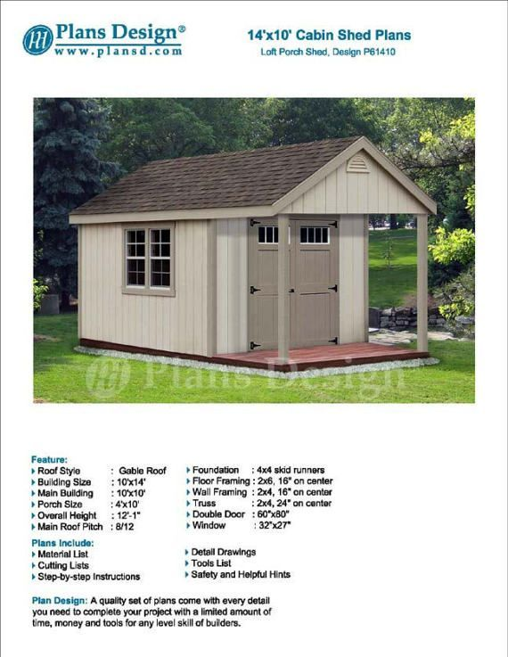 14 X 10 Cabin Loft Backyard Shed With Porch Blueprints Material List And Step By Step Instruct Chickencooppictures Shed With Porch Shed Wood Shed Plans