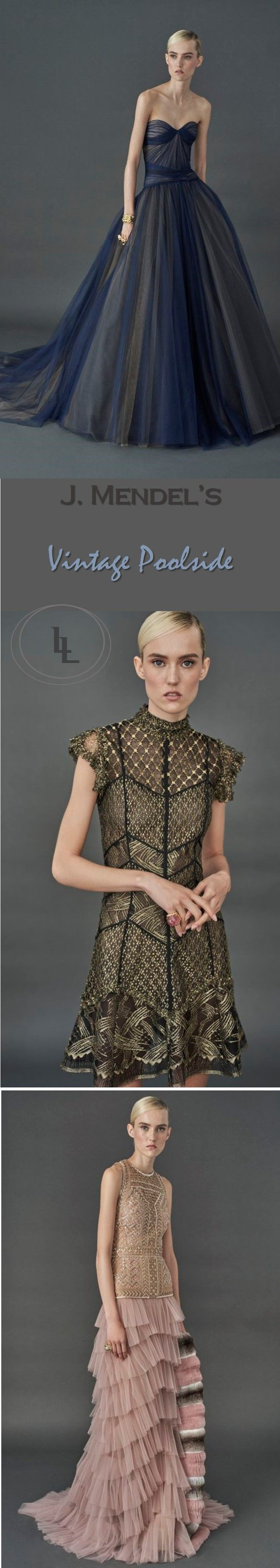 Runway Fashion Review: Best looks from J. Mendel's vintage poolside vibe collection | Blue sheer strapless gown, green lace cap sleeve, and nude pink tiered ruffle dress | The Luxe Lookbook