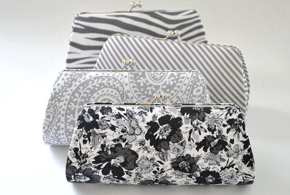 CUSTOM CLUTCH - Gray Clutch -Bridesmaid Clutch- You choose the fabric