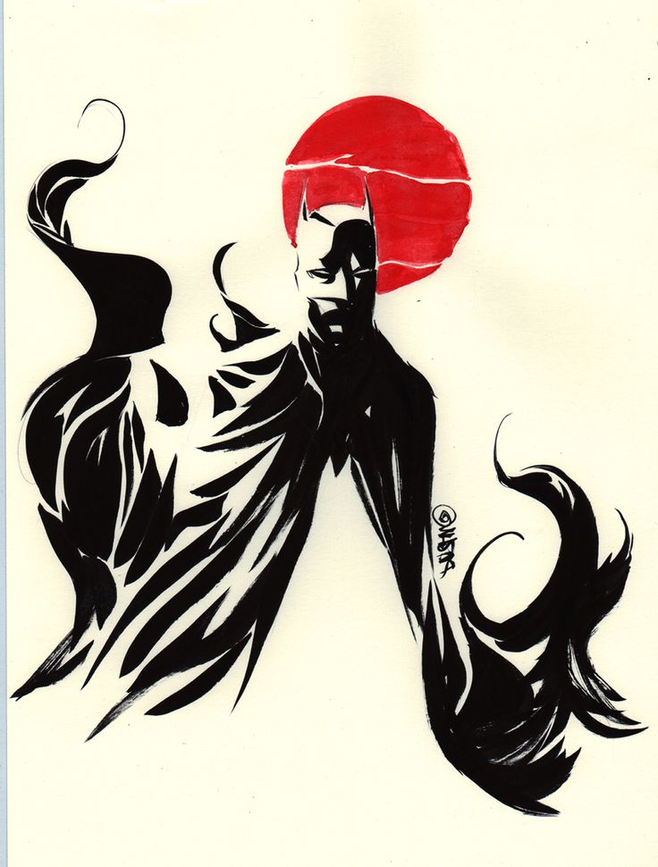 batman rising sun by dustin nguyen    a gift drawing to go with the art that the winner to my superboy cover won for the aid to japan auction- [link] . he asked for Batman with the red/rising sun.    brush on paper