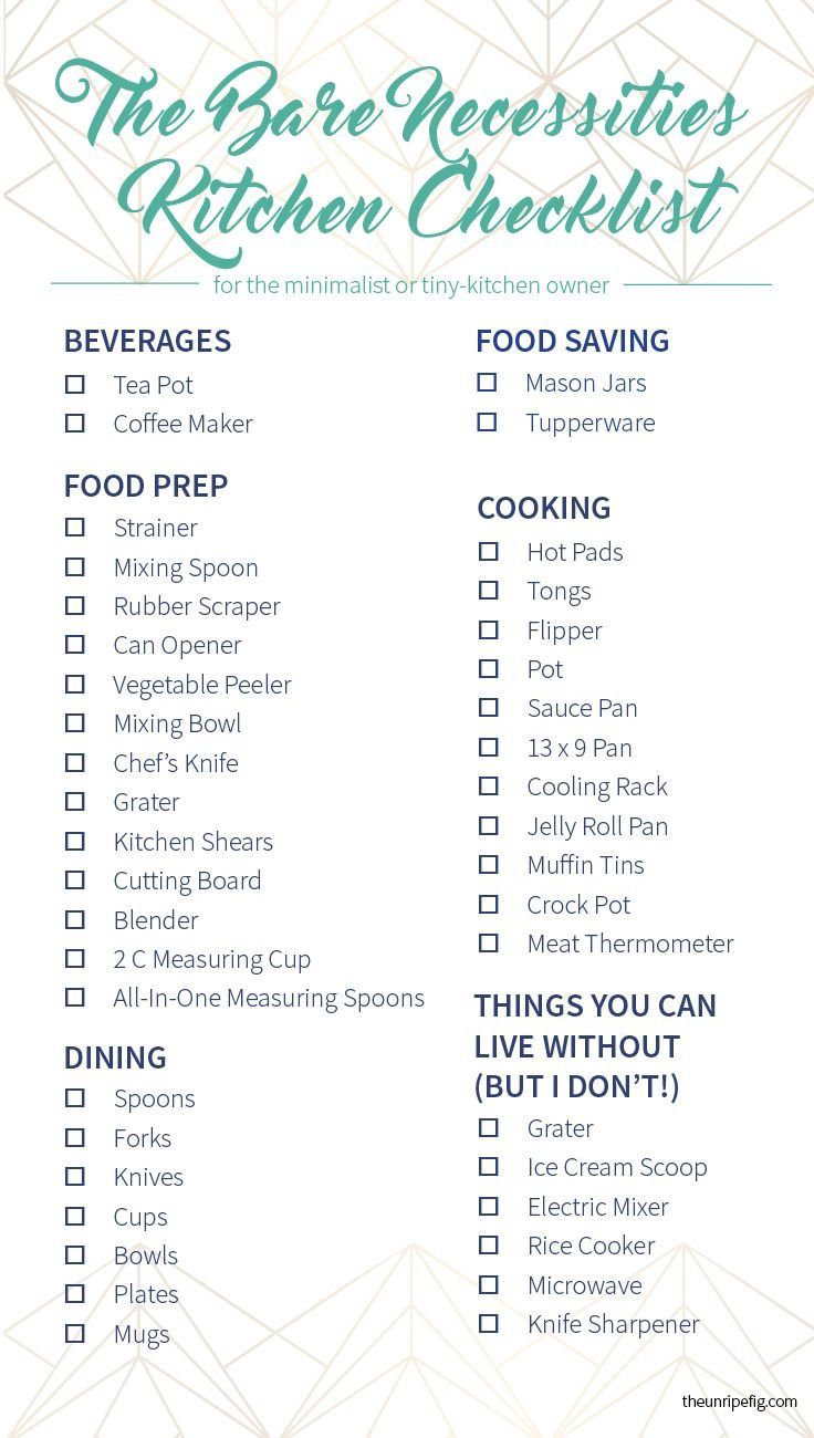 Moving In Mush Have Kitchen Checklist First Home 2019 College Apartment Needs