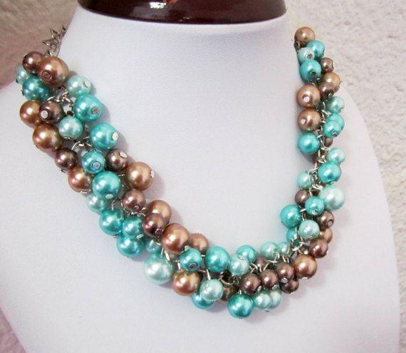 Klobige blaue Perlenkette gruppierte Perlenkette von SLDesignsHBJ