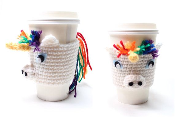 Coffee Cozy Unicorn, Crochet Coffee Sleeve, Can Koozie, Animal Drink Sleeve, Travel Cup Holder