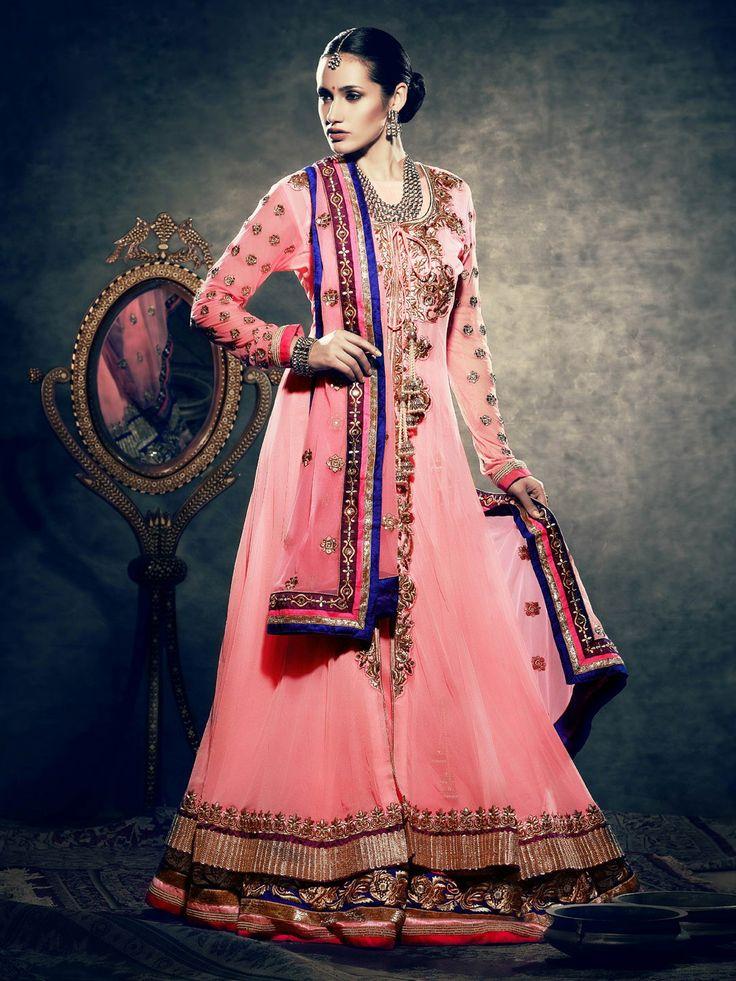 Picture of Stunning Rose Pink Fashionable Wedding Lehenga Cholis