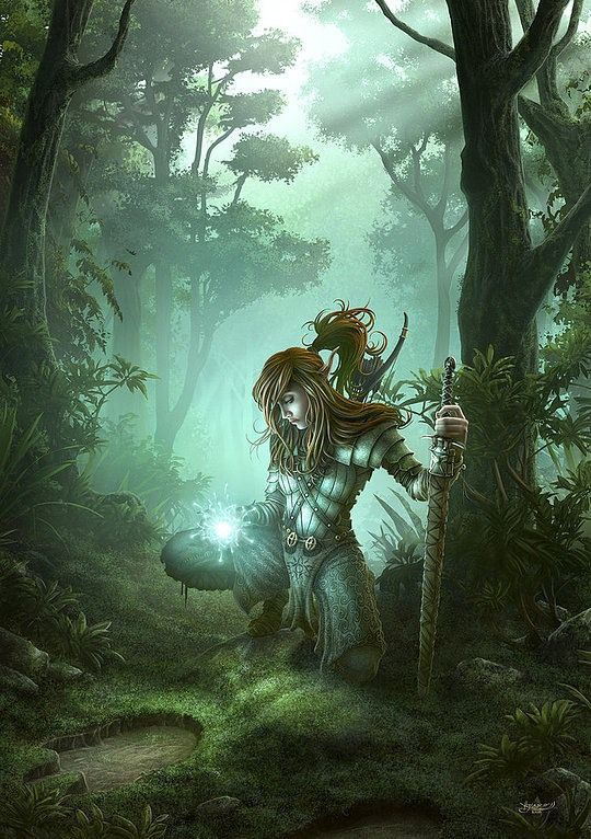 Meridan Vintalar, elf from the village Umlon in southern Verija forest, use some fire magic in a hunt through the eastern Verija forest.