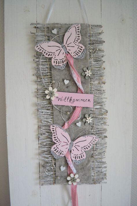 Türkranz Türschmuck Türdeko Rebenmatte grau/rosa, Willkommen Schmetterlinge i…