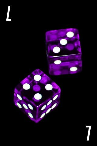 purple dice, With my birthday on top.