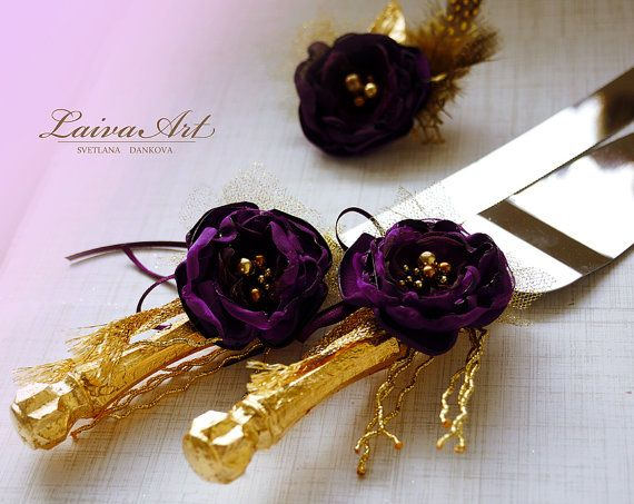 Wedding Cake Cutter Set Purple