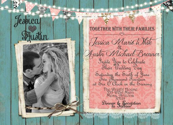 Rustic Coral and Mint Wedding Invitation, Lights, Banner, Photo Invitation, Digital File, Printable, 5x7 on Etsy, $16.94 AUD