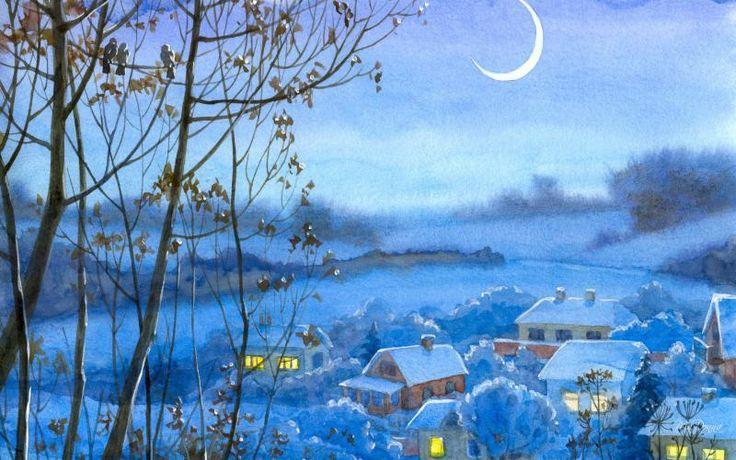 HD Watercolor Winter Village Wallpaper
