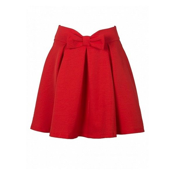 Choies Red Bowknot Waist Pleat Detail Skater Skirt ($14) ❤ liked on Polyvore featuring skirts, pleated skirt, flared skirt, skater skirt, pleated skater skirt and knee length pleated skirt