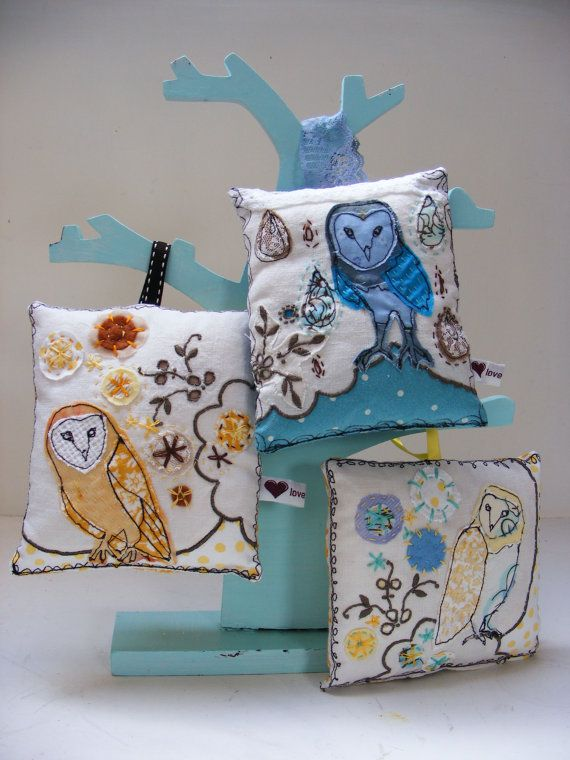 Barn owl embroidery mini cushions
