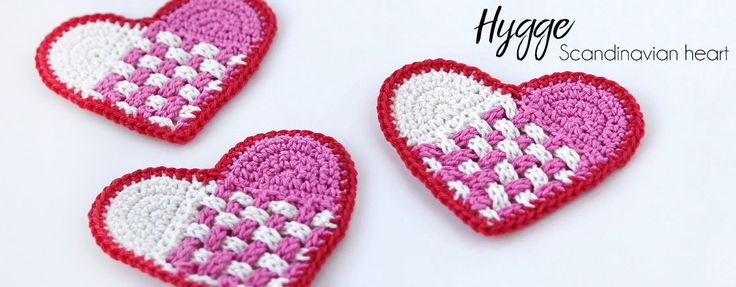 Free crochet pattern: The Scandinavian Hearts are perfect for small scraps and leftovers!