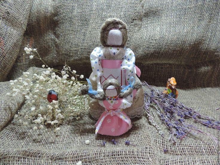 "Купить Кукла -оберег ""Ведучка"" - коричневый, лен, лента декоративная, кружево, оберег, мама и дочка"