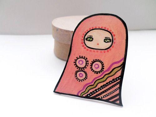 Pink Alien BroochAbigail Smycken