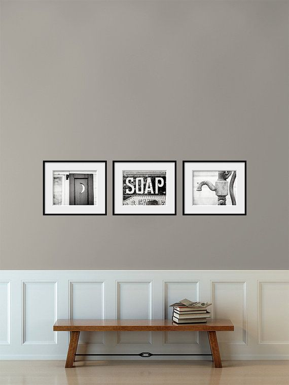 Bathroom Decor Set of 3 Photographs, Bathroom Decor Prints, Rustic Bathroom Decor, Vintage Shabby Chic Bathroom Art, Bath Wall Decor Set. on Etsy, $38.25