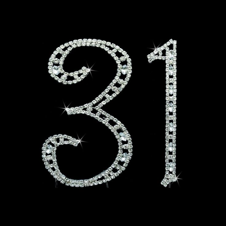 These rhinestone numbers with dazzling swarovski crystals will add unique look to your 31st anniversary cake topper. The Swarovski crystals are both Round cut and Marquise cut, and are individually set.