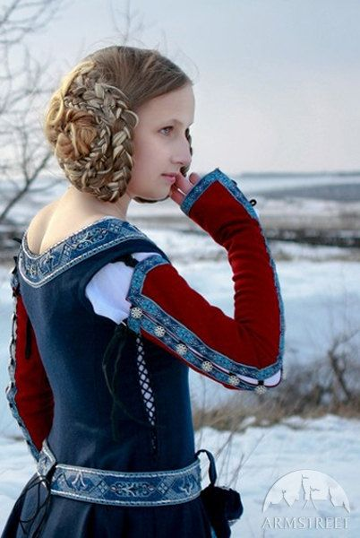Womens Medieval Dress Red Sleeves historic dress sca by armstreet
