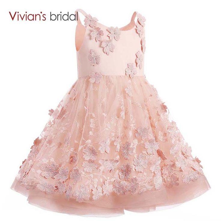 Vivian's Bridal Scoop Neck Pink First Communion Dresses for Girls Ball Gown Flower Girl Dresses Short Birthday Gown