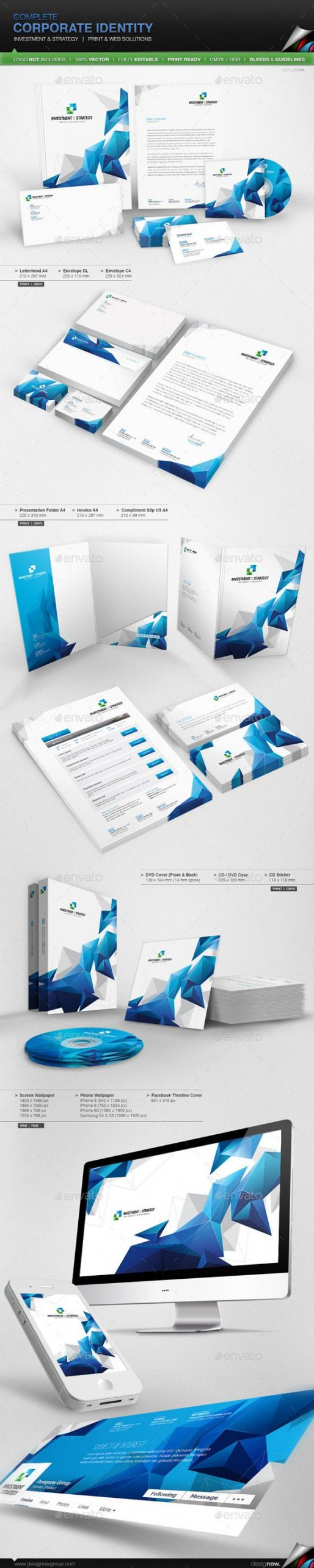 Corporate Identity – Investment And Strategy (AI Illustrator CS 210×297 business case cd communication compliment slip corporate identity dvd envelope…