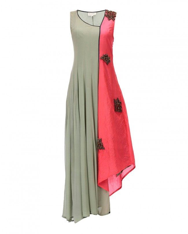 Dull green and pink silk sleeveless dress with kalies on one side and 3D flower gold embroidery on the other. Scoop neckline. Wash Care : Dry Clean Only. Type of Fit : Relaxed (Tolerance +5)