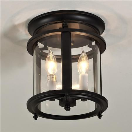 """Small Classic Ceiling Lantern -Small Classic Ceiling Lantern: Oil-rubbed bronze with clear curved glass. 3x40 watts. (9.5""""Hx8""""W).  $178"""