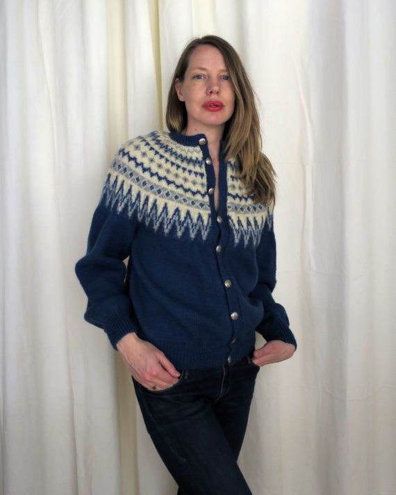 Vintage Hand-Knit Norwegian Cardigan / 1960s William Schmidt of Co. Oslo /